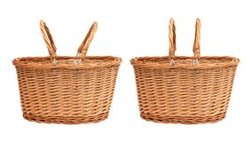 Wicker basket isolated on white background. Picnic container made from wood material. Basket stock images