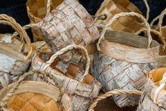 Wicker basket made of birch bark Stock Photos