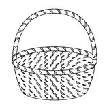 Wicker basket made of twigs. Easter single icon in outline style vector symbol stock illustration. Stock Photography