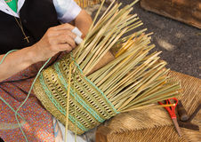 Wicker basket making Royalty Free Stock Images