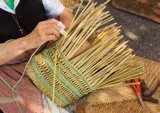 wicker basket making Royalty Free Stock Images