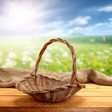 Wicker basket and meadow Stock Photography