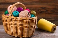 Wicker basket for needlework. Stock Photography
