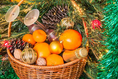 Wicker basket for new year's picnic Royalty Free Stock Image
