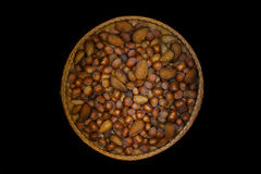 wicker basket with nut almond  Royalty Free Stock Photo
