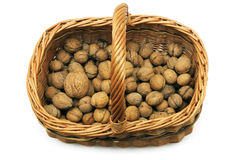 Wicker basket with nuts Royalty Free Stock Photos