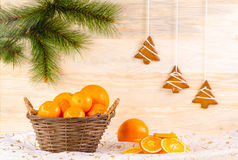 Wicker basket with oranges Royalty Free Stock Photography