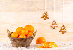 Wicker basket with oranges Stock Image