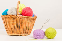 Wicker basket packed full of skeins Royalty Free Stock Image