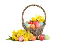 Wicker basket with painted Easter eggs and flowers. On white background royalty free stock photos