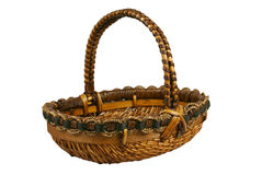 Wicker basket with path. Empty wicker basket isolated on white, with clipping path stock photography