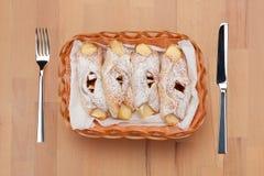 Wicker basket with patties stock photos
