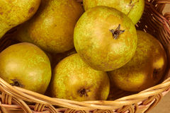 Wicker basket with pears Royalty Free Stock Photography