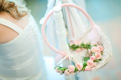 Wicker basket in pastel colors - Perfect wedding decoration stock photos
