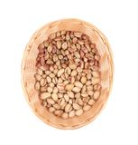 Wicker basket with pistachios. Royalty Free Stock Images