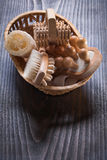 Wicker basket with relaxation set on vintage Royalty Free Stock Images