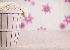 The wicker basket in room Royalty Free Stock Photography