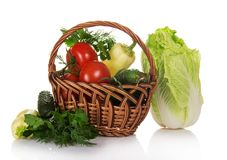 Wicker basket with a set of vegetables Royalty Free Stock Photo