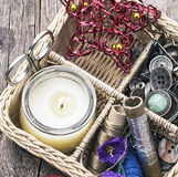 Wicker basket with sewing tools Stock Image