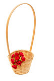 Wicker basket with small artificial roses Royalty Free Stock Photography