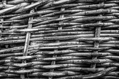 Wicker basket texture wall. Selective focus. background. monochr Stock Photography