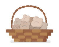 Wicker Basket with Truffles Flat Vector Icon Stock Photography