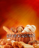 Wicker basket with variety of baking products Royalty Free Stock Photo