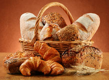 Wicker basket with variety of baking products Royalty Free Stock Photography