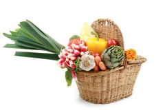Wicker basket of vegetables Royalty Free Stock Photography