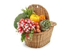 Wicker basket of vegetables Royalty Free Stock Image