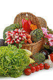 Wicker basket of vegetables Stock Image