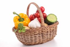 Wicker basket with vegetables Stock Photo