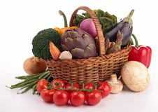 Wicker basket with vegetables Stock Images