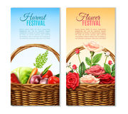 Wicker  Basket  2 Vertical Banners Set Royalty Free Stock Image
