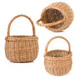 Wicker basket on white. Background Stock Photography