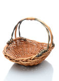 Wicker Basket on White Stock Photography