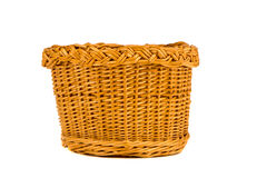 Wicker basket  on white. Wooden wicker basket  on white background Royalty Free Stock Photos