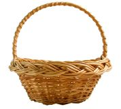 Wicker basket on white background. Empty wicker basket on white background Stock Photos