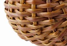 Wicker basket on a white background. Closeup, macro Stock Photos