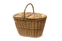 Wicker basket. On a white background Royalty Free Stock Photos