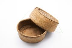 Wicker Basket on White Background. Bamboo Wicker Basket with Lid (Rice Basket) on White Background Stock Photos