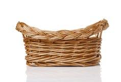 Wicker basket on white background. Empty wicker basket on white background Royalty Free Stock Image