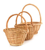 Wicker basket on white background Stock Photos