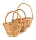 Wicker basket on white background Stock Photos