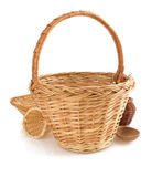 Wicker basket on white background Royalty Free Stock Photo