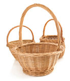 Wicker basket on white background Stock Photo