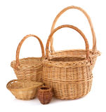 Wicker basket on white background Royalty Free Stock Photos