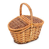 Wicker basket on a white background Royalty Free Stock Photos