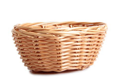 Wicker basket on white background Stock Images