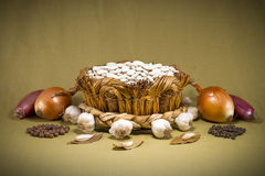 Wicker basket with white butter beans Royalty Free Stock Photos